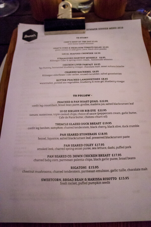 A local meal at Brunel's in Newcastle, Northern Ireland    The Travel Tester